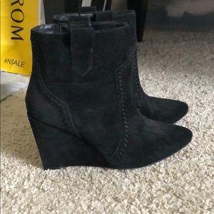 Black suede wedge booties